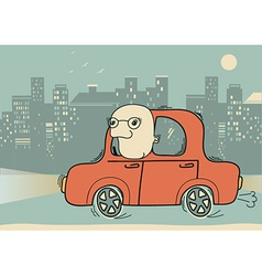 Driver man driving by car in the evening city vector image