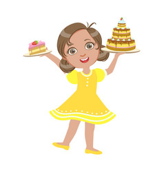 happy girl standing with a birthday cake in her vector image