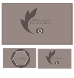 Photo studio logo and business card template vector image vector image