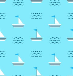 Seamless Pattern with Sail Boats on Blue vector image