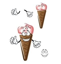 Strawberry ice cream in chocolate cone vector image vector image