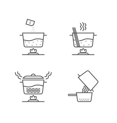 thin line cooking spaghetti in stages on white vector image vector image