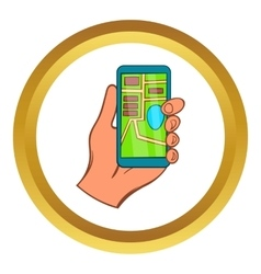 Hand with smartphone GPS navigator icon vector image