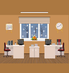 office room interior christmas design with vector image vector image