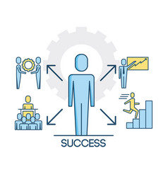 success people teamwork cooperation successful vector image