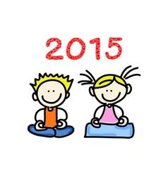 Cartoon happy people meditation vector