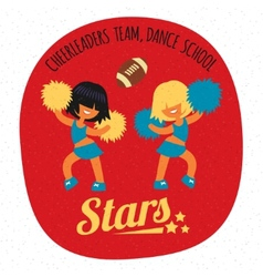 cheerleader girls team dancing with poms vector image