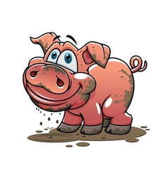Cute little muddy cartoon pig vector image vector image