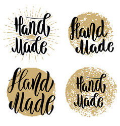 hand made set of hand drawn lettering emblems vector image vector image