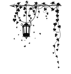 ivy border with street lamp vector image vector image