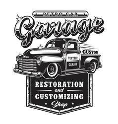 retro car repair garage sign with retro style vector image