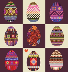 card with big collection of Easter eggs vector image