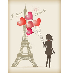 Girl with red balloons vector image vector image