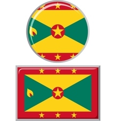 Grenada round and square icon flag vector image vector image