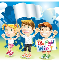 Group Kids Cheering with flag vector image vector image