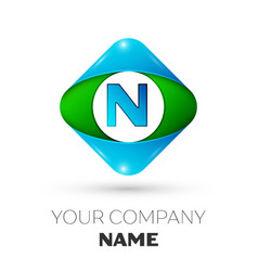 realistic letter n logo in colorful rhombus vector image