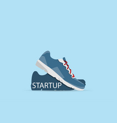 running shoes with startup word startup concept vector image vector image