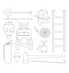 Set icons of firefighting equipment vector image vector image