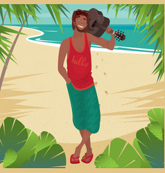 smiling man holding guitar on the beach vector image vector image
