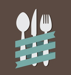 Spoon Knife Fork With Ribbon Flat vector image