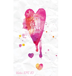 Watercolor love Valentines Day vector image
