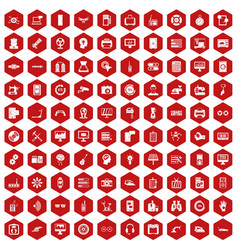 100 settings icons hexagon red vector image