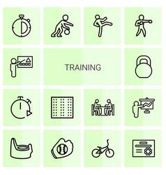14 training icons vector