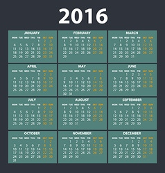 2016 calendar in the style of colorful card vector image