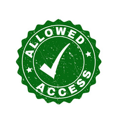 allowed access scratched stamp with tick vector image