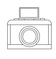 analog camera with flash light photo equipment vector image