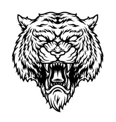 Angry dangerous tiger head concept vector