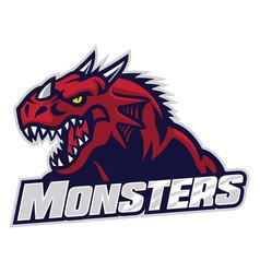 angry dragon head vector image