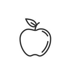 apple line icon nutrition flat fruit vector image