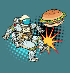 astronaut kicks burger fast food proper nutrition vector image