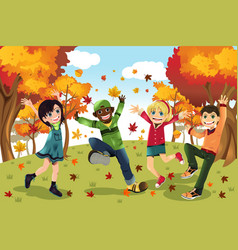 Autumn fall season kids vector