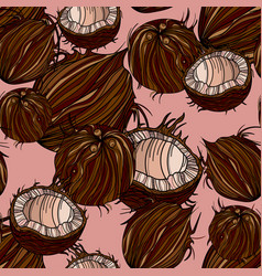 Beautiful seamless pattern with coconut vector