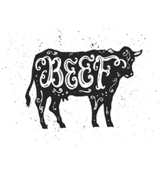 Beef lettering in silhouette vector