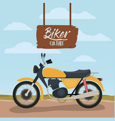 Biker culture poster with classic motorbike in vector