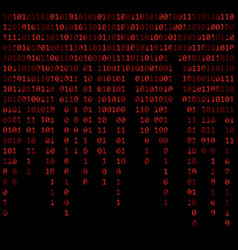 Binary code zero one matrix red background vector