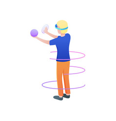 Blonde boy take in hand sphere in virtual reality vector