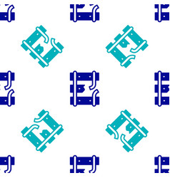 Blue broken or cracked rails on a railway icon vector