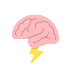 brain like cloud with lightning brainstorm power vector image
