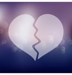 Broken heart icon on blurred background vector