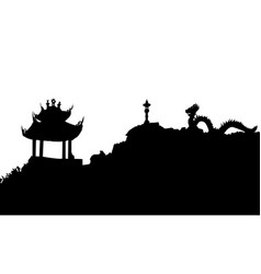 Buddhist temple dragon statue silhouette vector