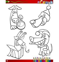 Cartoon christmas themes coloring page vector