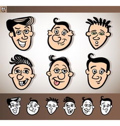 Cartoon men heads set vector
