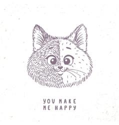 cat cute doodle vector image
