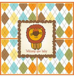 childish baby shower card with cartoon lion vector image