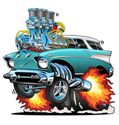 classic fifties hot rod muscle car cartoon vector image