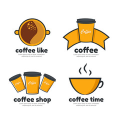 coffee shop logo set vector image